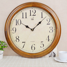 European retro living room wooden wall clock 16 inch large round mute solid wood wall sticker clock wall watch