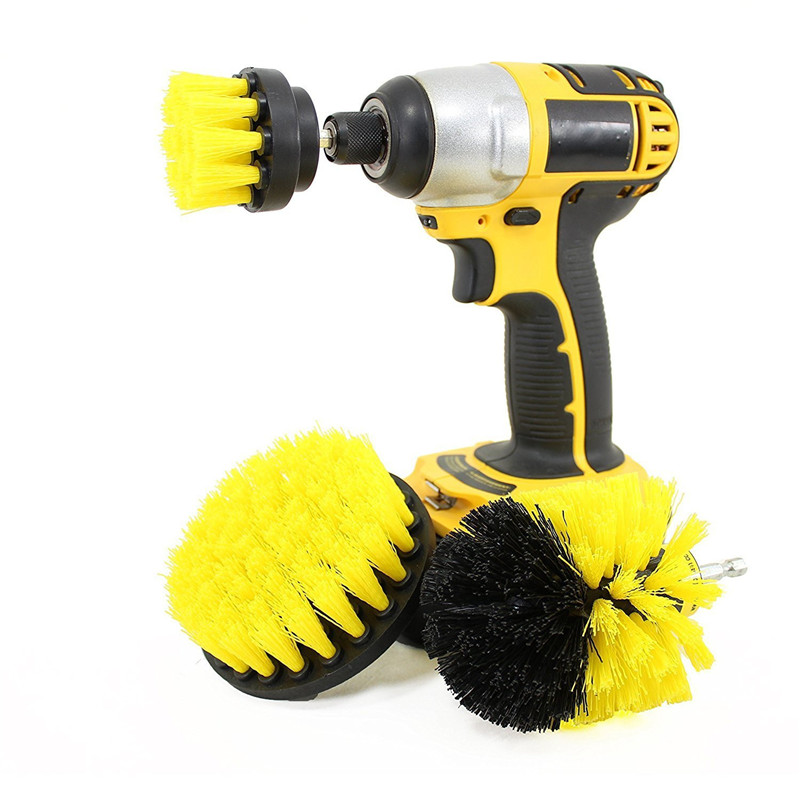3 Pcs/Set Power Scrubber Brush Drill Cleaning Brush Head For Bathroom Surfaces Tub Carpet Car Tires Household Cleaning Tool Set|Cleaning Brushes| |  - title=