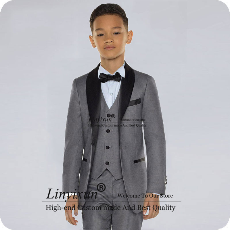 Burgundy Boy Suits For Wedding Black Shawl Lapel Slim Fit Boys Wedding Child Jacket Costume Mariage Kids Blazers Ternos 3Piece