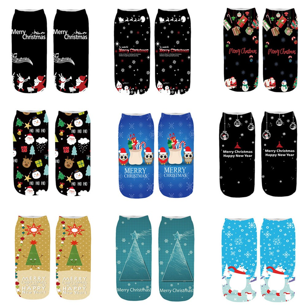 Amazing Novelty Print Ankle Sock Funny Crazy Cute High Quality Women Christmas Socks 3D Cartoon Chrismas Santa Print Sock Y725