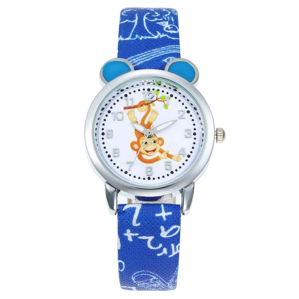 New Cartoon Children Monkey Watch Fashion Boys Kids Student Diamond Leather Analog Wristwatches Lovely Pink Watch Relojes Saati