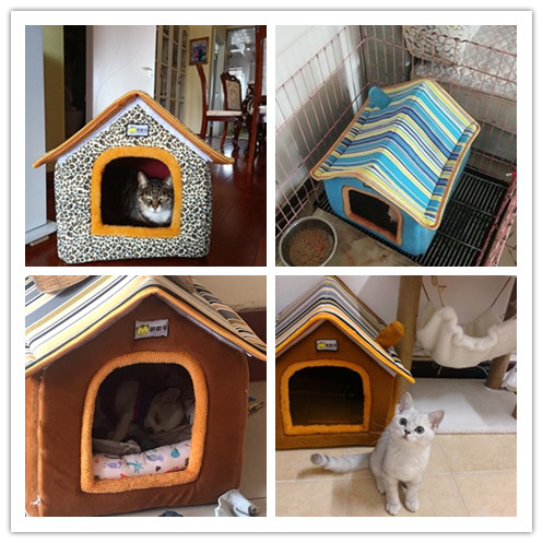 XS-L Pet Cat Dog Bed House Washable Waterproof &no Fade Small Pet House Hand Wash & Mechanical Wash Breathable Dogs Cage 9
