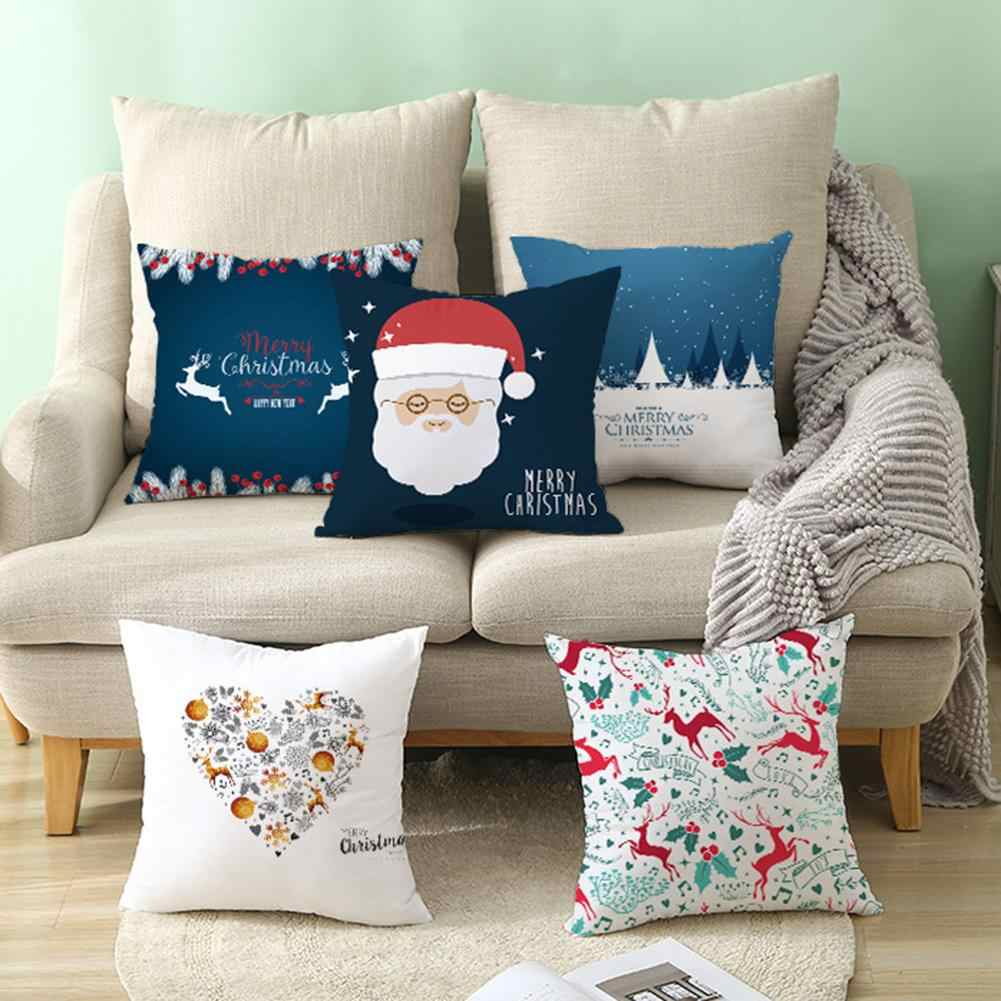 Happy New Year Merry Christmas Tree Deer Snowflake Pillow Case Cushion Rectangle Cover Home Decoration