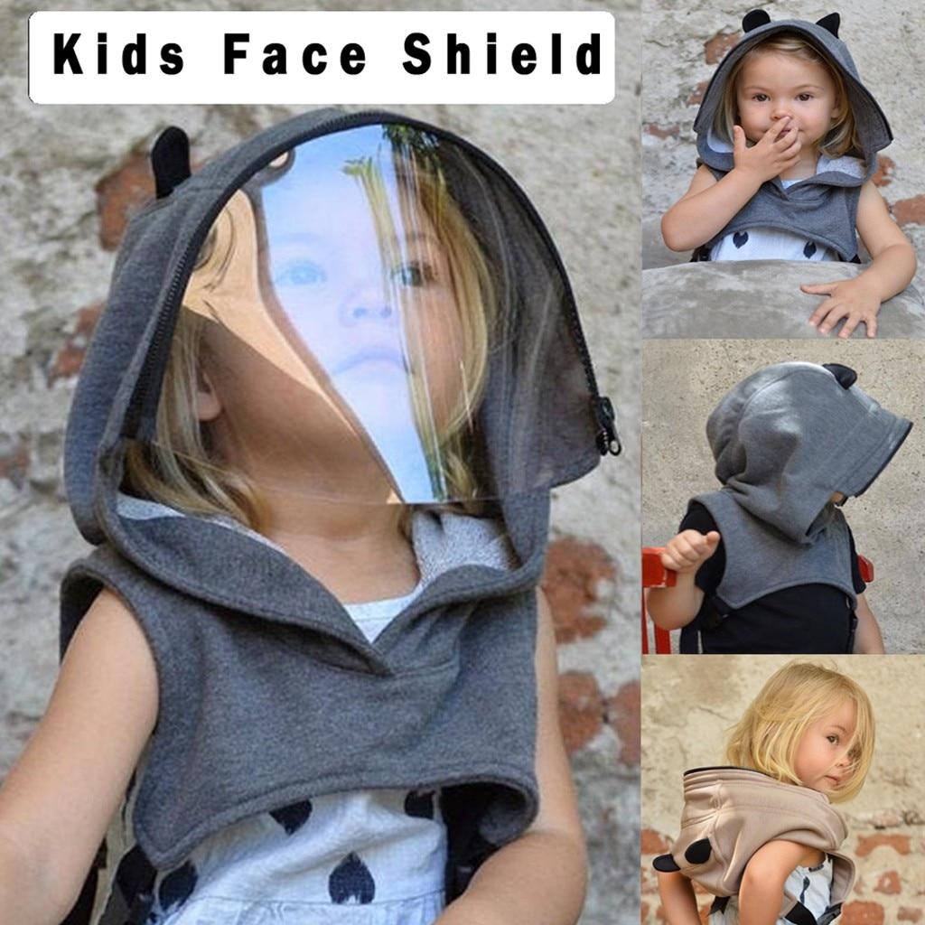 Los niños de moda 360 máscara protectora usar claro sombrero con capucha a prueba de polvo lavable protección facial reutilizable extraíble Mascarilla 4      - AliExpress