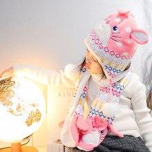 Комплект из 2 предметов, зимняя вязаная для маленьких девочек с милым Кроликом, шапка, шарф, теплая детская шапочка с подкладкой для девочек, шапка, шапка, шарф