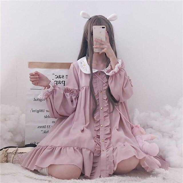 Woherb 2021 Summer Dress Women Harajuku Pink Ladies Ruffle Lace Patch Kawaii Dresses Lolita Cosplay Sweet Loose Vestidos 21092 4
