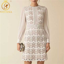 SMTHMA Chiffon Patchwork Lace Dress Female Long Sleeve High Waist Chic Dresses Women 's Autumn Vintage Clothes(China)