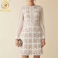 SMTHMA Chiffon Patchwork Lace Dress Female Long Sleeve High Waist Chic Dresses Women 's Autumn Vintage Clothes