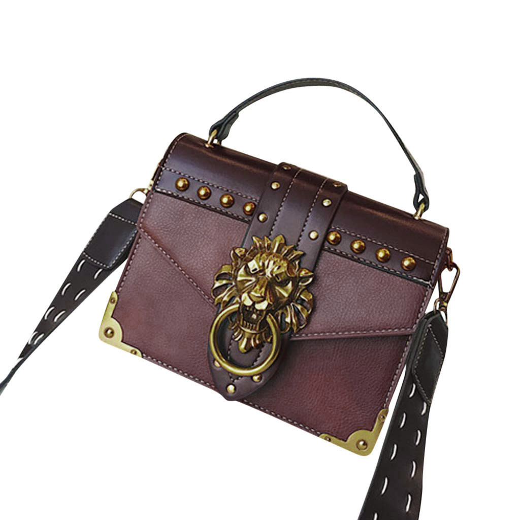 Hadb16830db1e46c482966751c8ed7b1ag - Handbags Women Bags  Golden Lion Tote Bag With Zipper Fashion Metal Head Shoulder Bag Mini Square Crossbody Bag G3