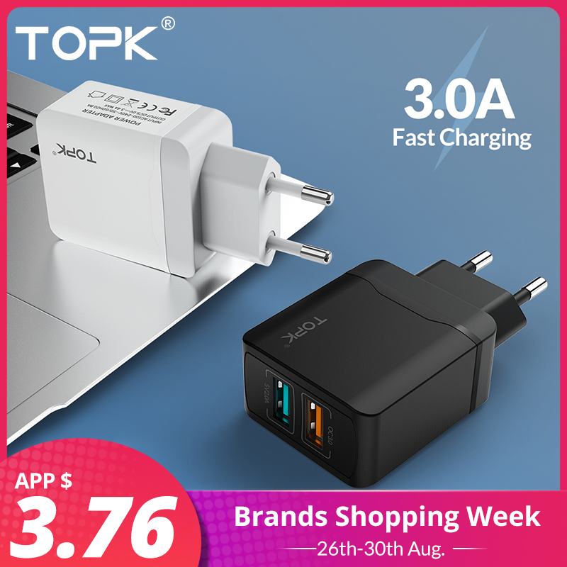 TOPK Usb-Charger Qc3.0 Usb Huawei iPhone Xr Xiaomi Samsung