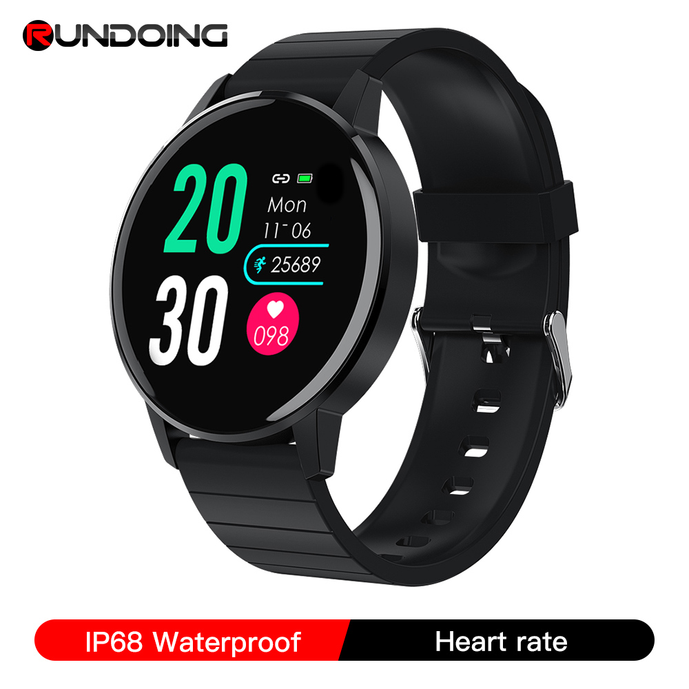 RUNDOING S4 women smart watch men HD Full touch screen Heart rate Blood pressure oxygen monitor fashion sport smartwatch men