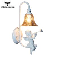 Modern Art LED Wall Lamps Nordic White Bedroom Wall Light Angel Resin Wall Lights Children Bedroom Deco Wall Sconce Lamp Fixture