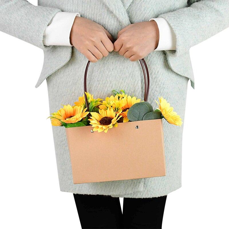 Kraft Paper Flower Boxes for Wedding Rose Bouquet Arrangements Handheld Gift Packaging Bag Box Diy Flower Basket Decor