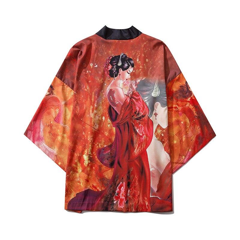 Men Japan Streetwear Fashion Hip Hop Loose Casual Short Sleeve Kimono Shirts Male Fashion Retro Pattern Print Cardigan Shirts