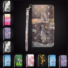 Quality 3D Painted Glossy PU Leather Flip Wallet For iPhone X XR XS 11 Pro Max 8 7 6 6S Plus 5S SE Soft TPU Etui Coque Cover(China)
