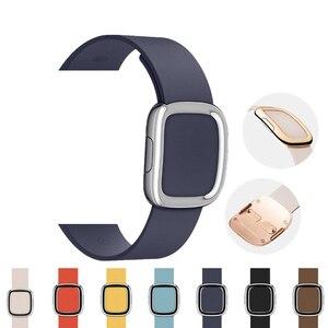 Image 1 - Lederen Band Voor Apple Horloge Band 4 5 44Mm 40Mm Moderne Gesp Bands Voor Iwatch Serie 3 2 1 Band 42Mm 38Mm