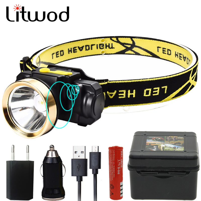 Litwod Z3509010 LED Motion Sensor Headlamp Riding Headlight Rechargeable Outdoor Camping Flashlight Head Torch Lamp With USB