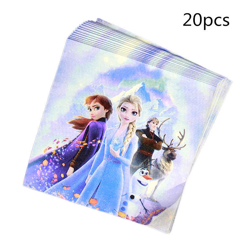20pcs Baby Shower Snow Queen Frozen 2 Disposable Napkin Happy Birthday Party Decoration Girls Favors Valentines Party Supplies