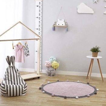 Cotton Baby Play Mat Round Carpet with Balls Around Children Toys Baby Photography Props Nordic Style Kids Room Decoration 120cm