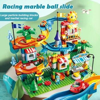 Marble run grandi blocchi compatibile duploed blocchi di costruzione blocchi di Scorrimento FAI DA TE grandi mattoni giocattoli imbuto per legoINGlys regalo dei bambini 1