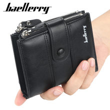 Baellerry Vintage Multi-function Double Zipper PU Leather Men's Wallet Card Holder Man Luxury Short Wallet Casual Wallets(China)