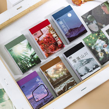 Aesth 50pcs/pack Scene Adhesive Mini Book Vintage Sticker Kraft Cards Deco Diary Stationery LOMO Cards Scrapbooking Sticky Notes