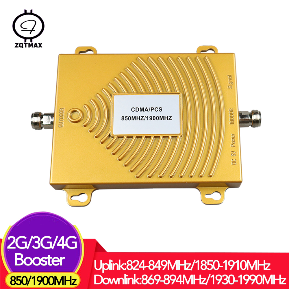 ZQTMAX Dual Band Repeater 850 1900 MHz LTE Data Cell Phone Cellular Signal Amplifier B2 (pcs) B5 (cdma)