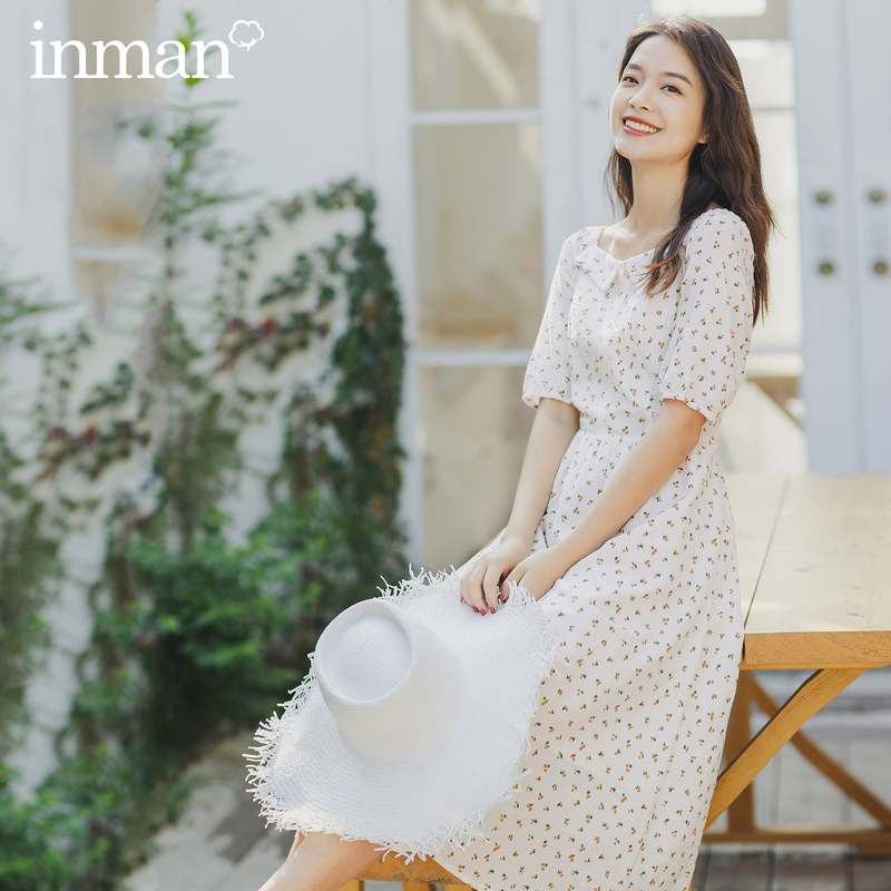 INMAN 2020 Summer New Arrival Elegant Square Collar Reveal Clavicle Shivering Nipped Waist Short Sleeve Dress