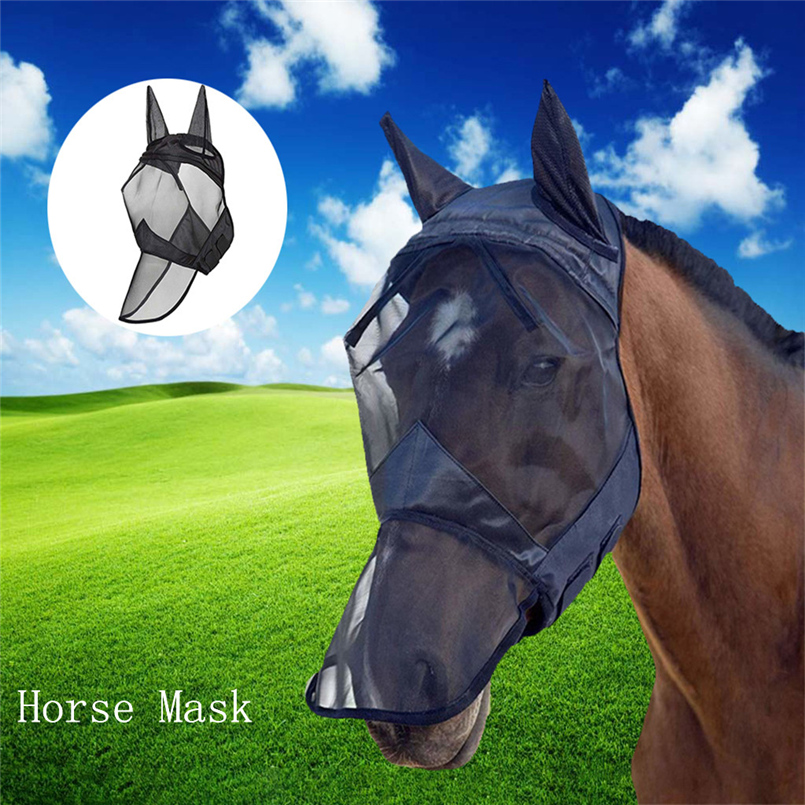 Anti-mosquito Horse Mask Horse Flying Mask Breathable Comfort Equestrian Supplies Horse Mask Zipper Removable Mesh 20O24