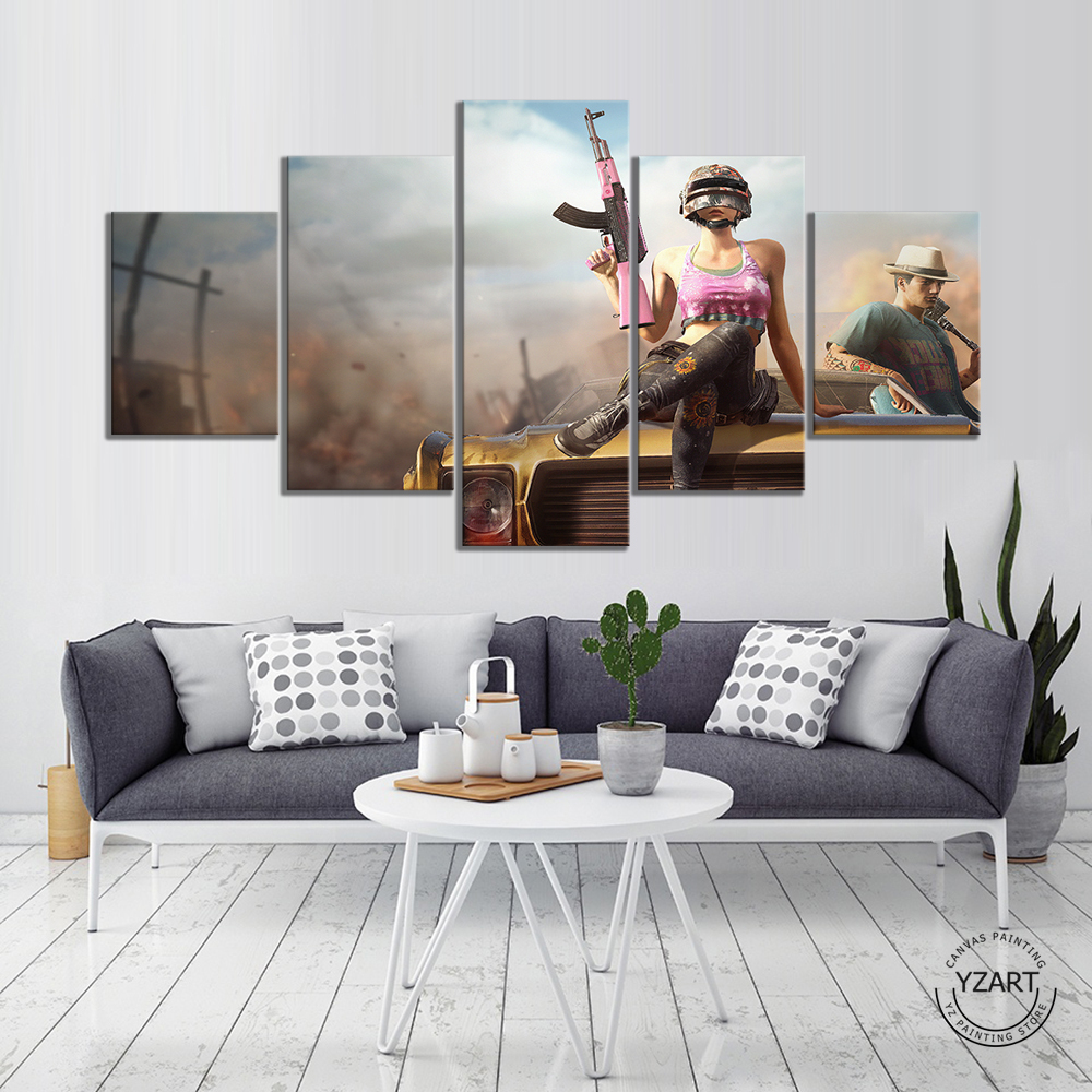 5pcs PUBG Warrior Poster Paintings HD Wall Picture Canvas Paintings for Bedroom Decor PUBG Game Poster 2
