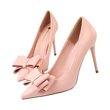 Women Pumps Shoes Candy Colors PU Leather Butterfly-knot Slip-On Pointed Toe 10cm Thin High Heel Solid Sweet Party Female Shoes