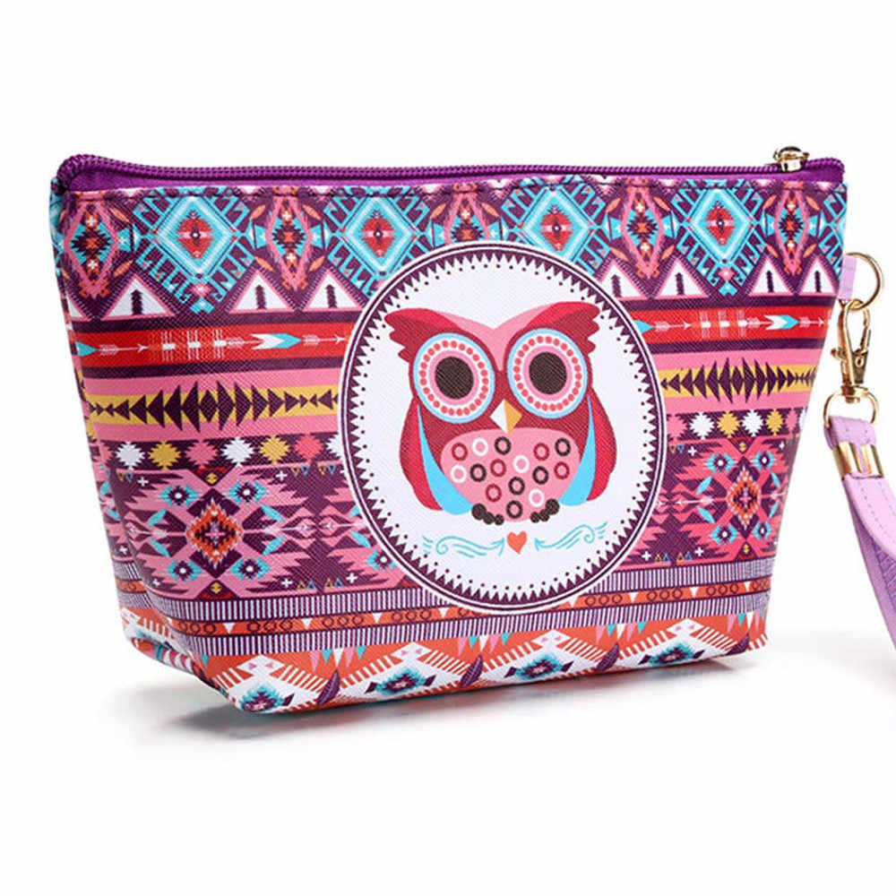 Ocardian saco cosmético para mulher coruja portátil caso cosmético bolsa zip organizador de higiene pessoal viagem maquiagem saco de embreagem transporte da gota