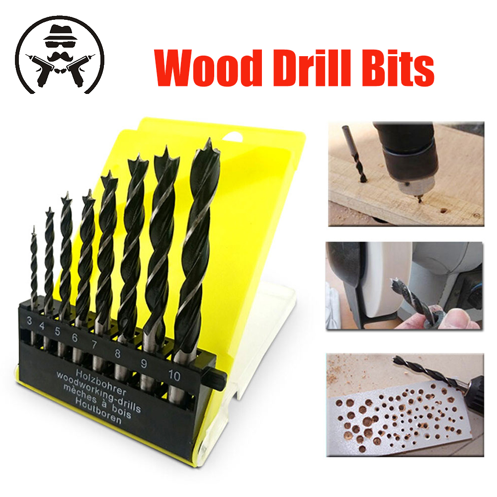 Arrival 8PCS 3 Flute Wood Drill Bits Set 3mm-10mm For Woodworking Metal Power Tools Wood Drilling High Quality Twisted Drill