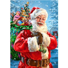 5D DIY Diamond Painting Santa Claus Cross Stitch Full Round Embroidery Mosaic Christmas Gift