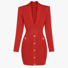 Dress Winter Gold-Button Black Red Long-Sleeve Knitted Sexy Autumn Women Pencil V-Neck