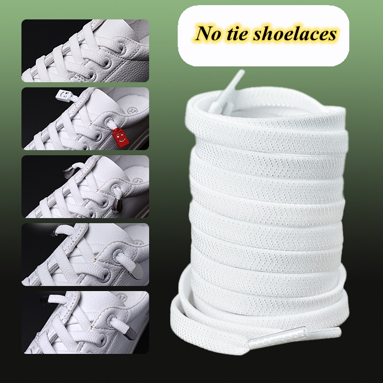 New 1Pair Flat Elastic Shoelaces White/Black No Tie Shoelaces Kids Adult Unisex Flat Sneakers Shoelace Quick Lazy Laces Strings