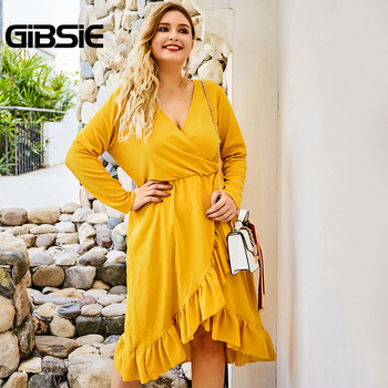 GIBSIE Wrap V-neck Tunic Midi Dresses Women Elegant Asymmetrical Ruffle Dress 2019 Autumn Long Sleeve High Waist Office Dress