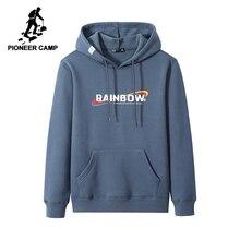 Pioneer CampชายHoodies Hooded Streetwearฤดูหนาวที่อบอุ่นขนแกะสีดำฟิตเนสเสื้อสำหรับชายAWY905063