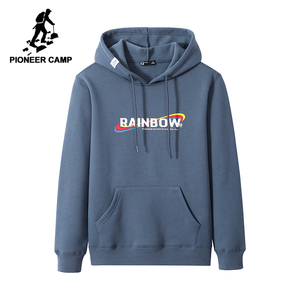 Image 1 - Pioneer Camp Men Hoodies Cotton Hooded Streetwear Winter Warm Fleece Black Blue Fitness Sweatshirts for Male AWY905063