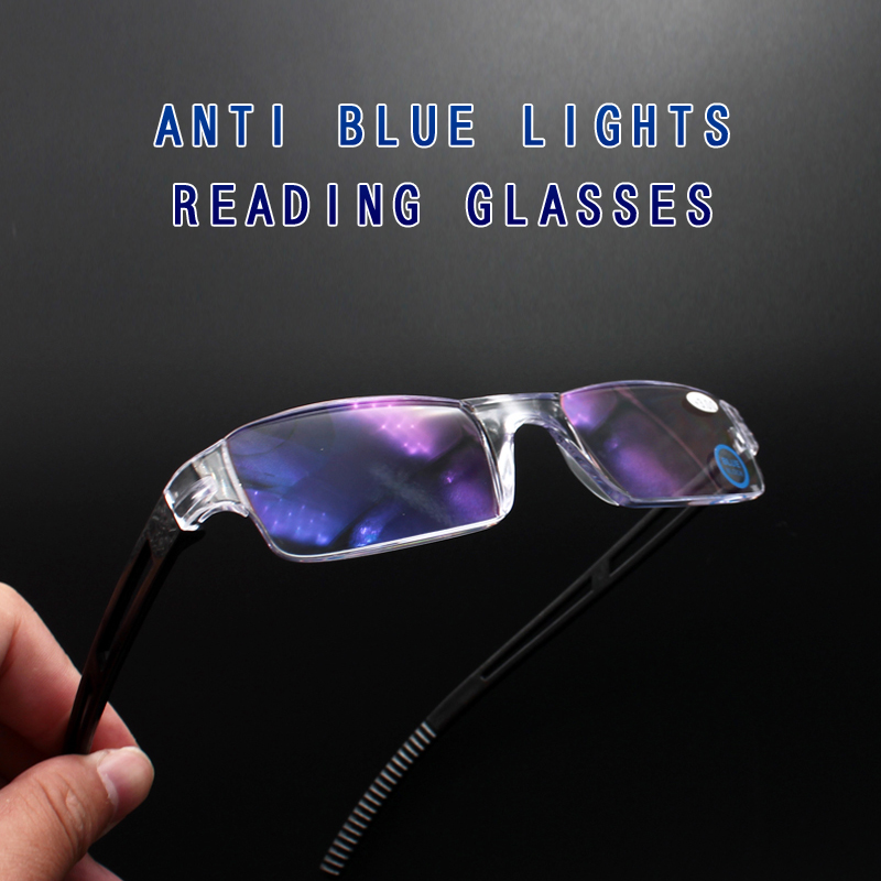 Reading Glasses Men Anti Blue Rays Presbyopia Reading Glasses Men Readers Rimless 2.50 Magnifier Glasses PC Polarized