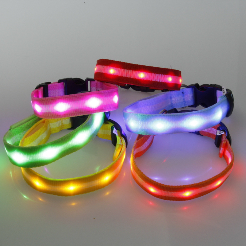 Stripes Light Belt LED Shining Light Belt Dog Neck Ring Pet Lamp Beads Neck Ring Pet Supplies