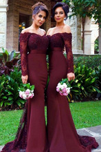 Mermaid Women Party Gown Burgundy Bridesmaid Dress Long Sleeves Lace Satin Wedding Guests Dress Off The Shoulder burgundy one shoulder bat sleeves knitted dress