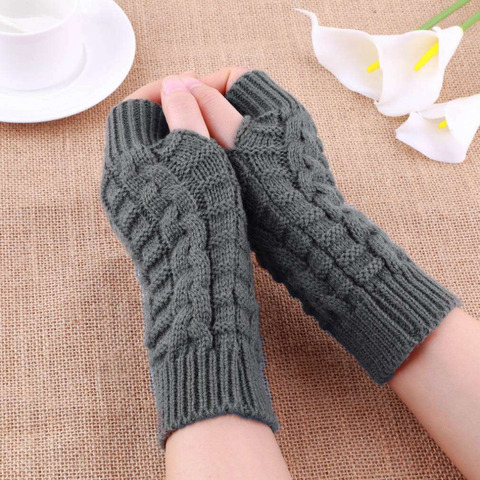 Autumn Winter Women Warmth Knitted Arm Fingerless Gloves Long Stretchy Mittens Men Women Winter Hand Arm Warm Female Gloves Lahore