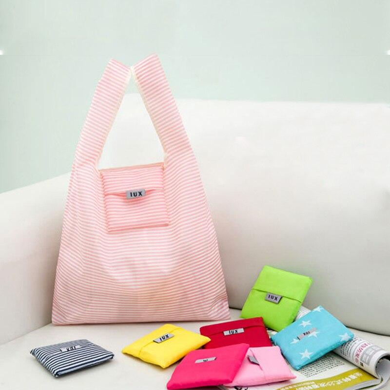 GABWE Solid Recycle Shopping Bag Custom Eco Reusable Travel Tote Bag Nylon Shoulder Folding Pouch Handbags Printing Book Bag