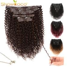 Showcoco – Extensions de cheveux naturels bouclés Remy, 10-24 pouces, avec clips, faites Machine, pour femmes africaines