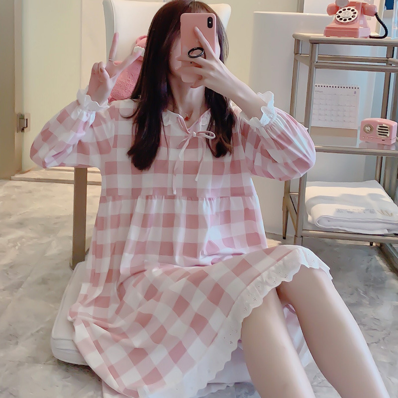 Palace Nightgown Women's Knitted Cotton Pajamas Long Sleeve Retro Princess Style Tracksuit Long Sleeve Sexy Long Skirts Lace Spr