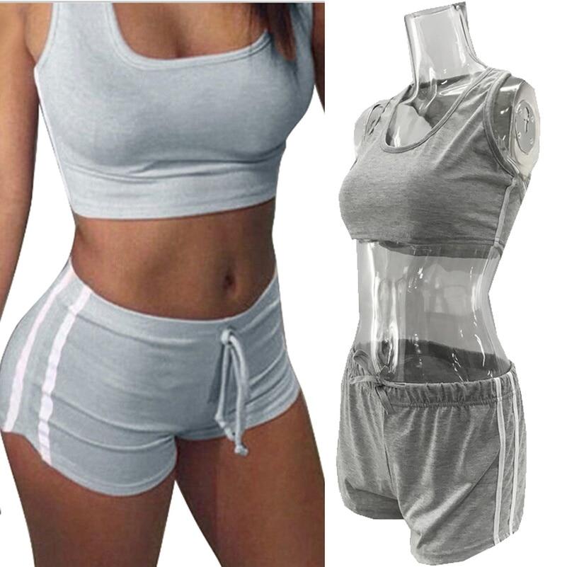 Crop Top Lace Up Solid Suit Set 2020 Women Tracksuit Two-piece Sport Style Outfit Jogging Sweatshirt Fitness Lounge Sportwear