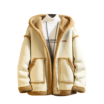 Fashion Winter man Long Sleeve Coats And Jackets Men's 2019 Thick Buckskin Imitation Lambskin Warm Bomber Hooded Jacket 5XL