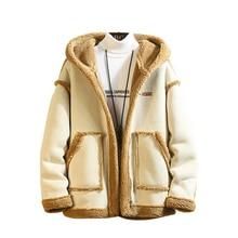 Fashion Winter man Long Sleeve Coats And Jackets Men's 2019 Thick Buckskin Imita