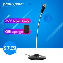 Pine Pino micrófono para ordenador, de 360 °, ajustable, libre, para chatear, videojuegos, estudio, discurso, micrófono USB, PC, portátil, escritorio